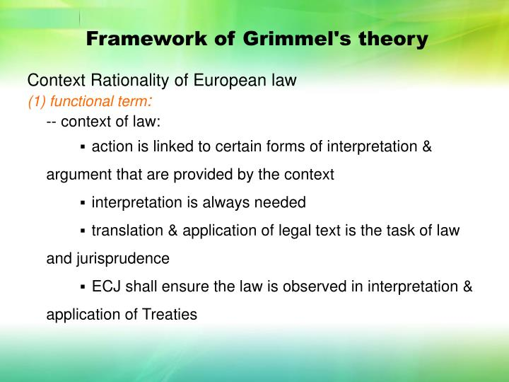 Framework of Grimmel's theory