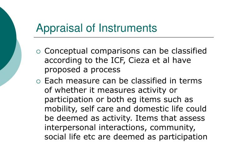 Appraisal of Instruments