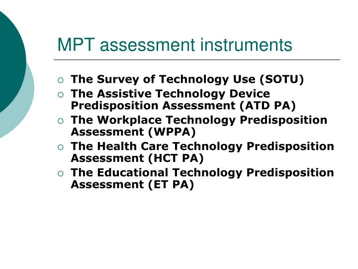 MPT assessment instruments