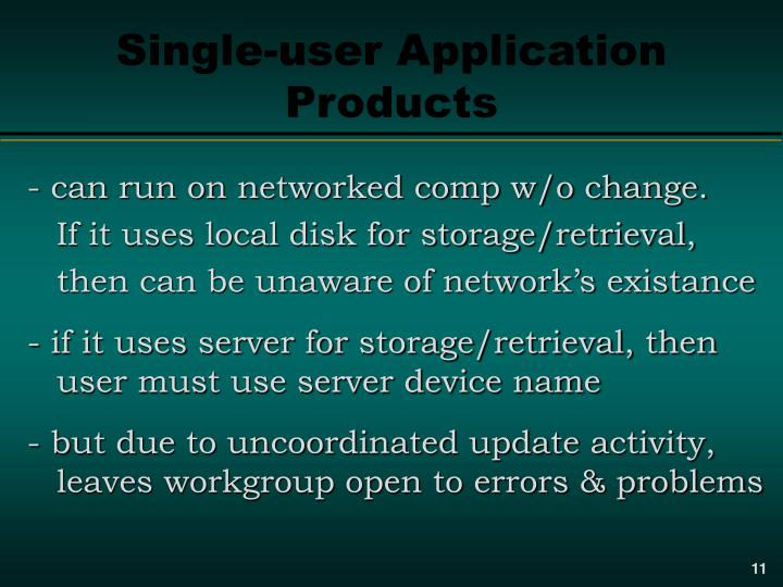 Single-user Application Products