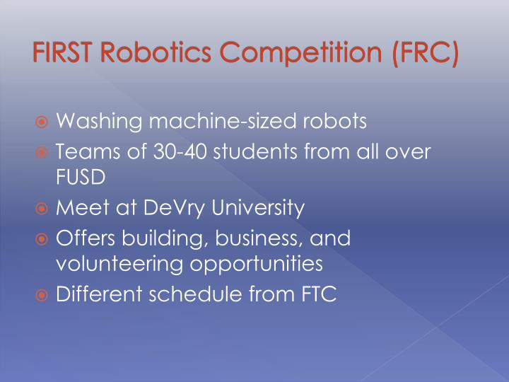 FIRST Robotics Competition (FRC)