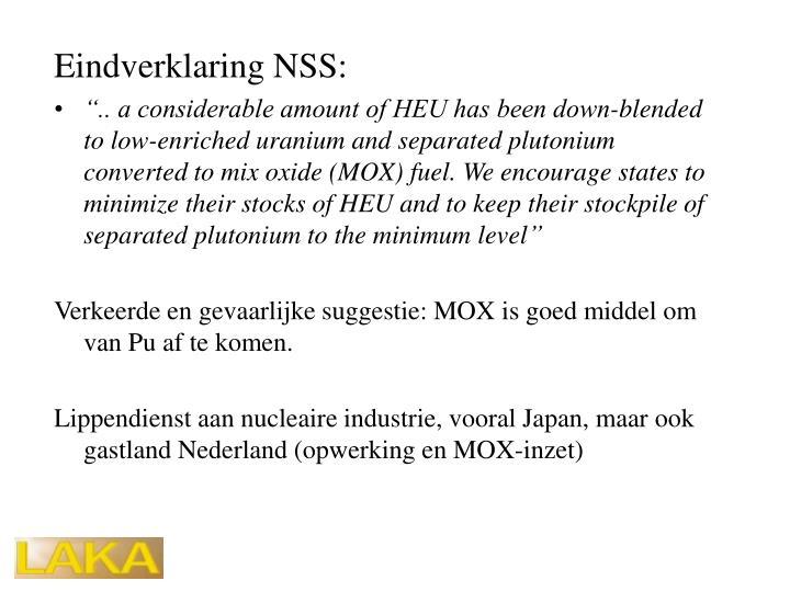 Eindverklaring NSS: