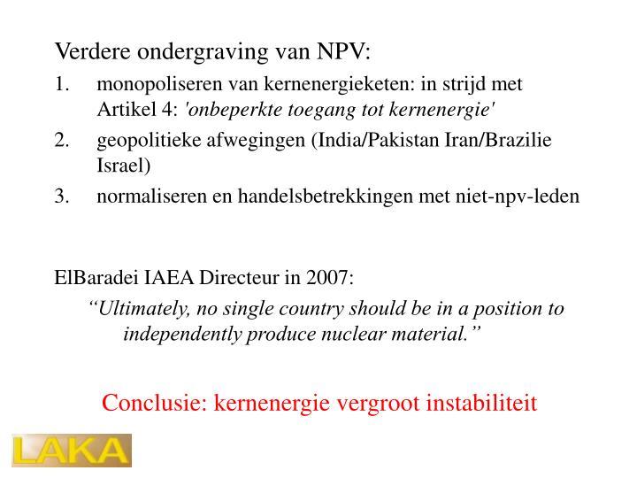Verdere ondergraving van NPV: