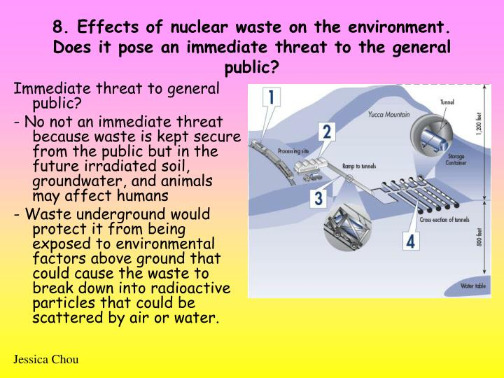 8. Effects of nuclear waste on the environment. Does it pose an immediate threat to the general public?