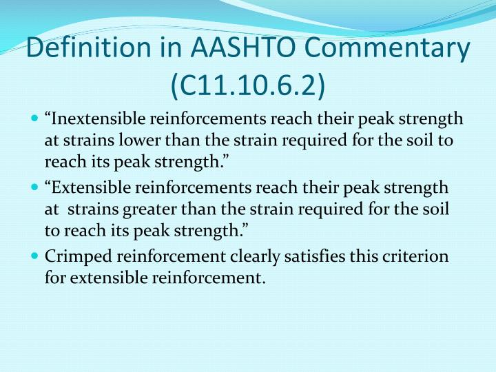 Definition in AASHTO Commentary (C11.10.6.2)