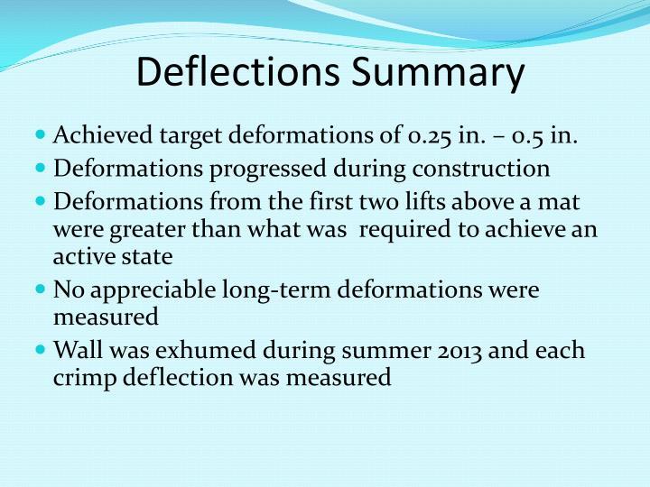 Deflections Summary