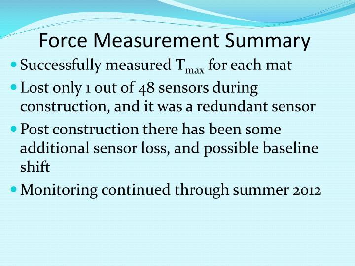 Force Measurement Summary