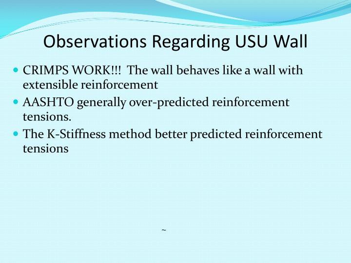 Observations Regarding USU Wall