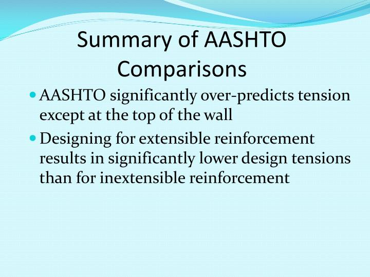 Summary of AASHTO Comparisons