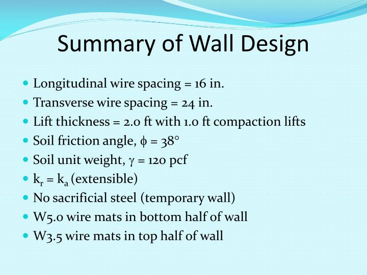 Summary of Wall Design