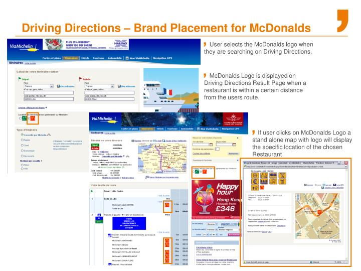 Driving Directions – Brand Placement for McDonalds