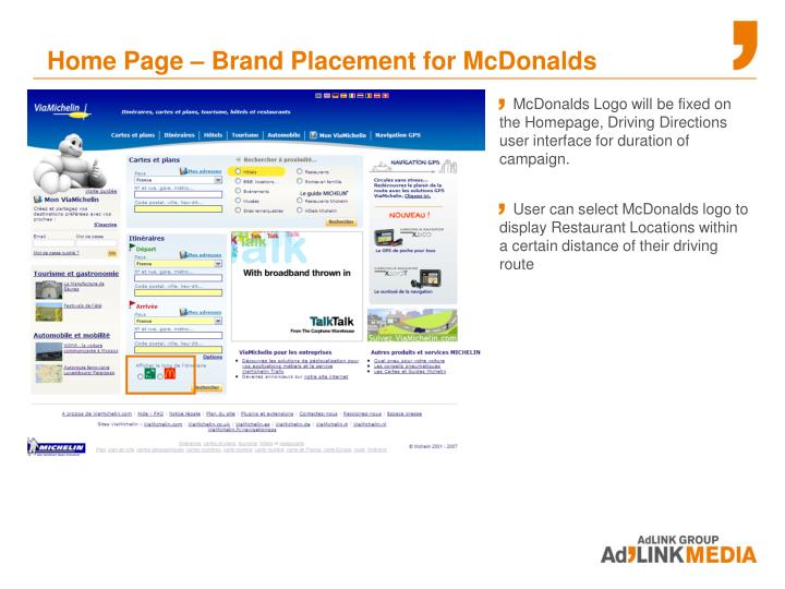 Home Page – Brand Placement for McDonalds
