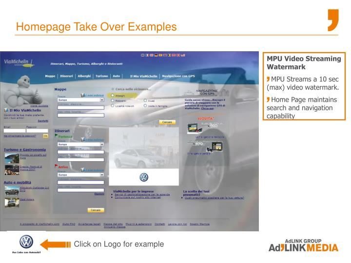Homepage Take Over Examples