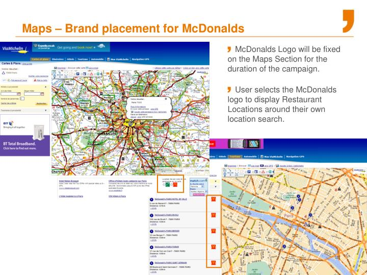 Maps – Brand placement for McDonalds