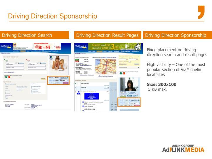 Driving Direction Sponsorship