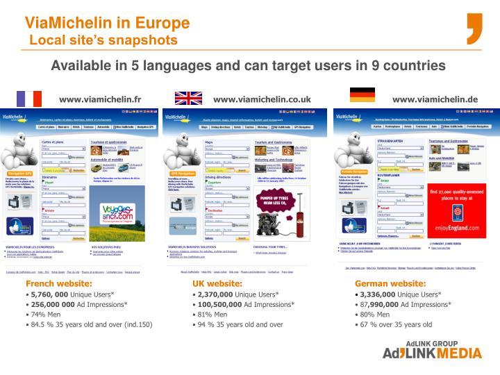 ViaMichelin in Europe