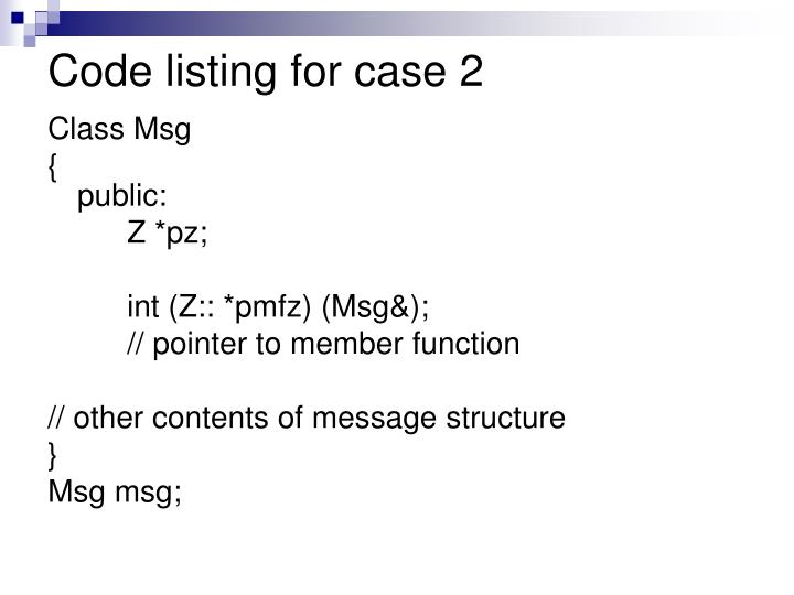 Code listing for case 2