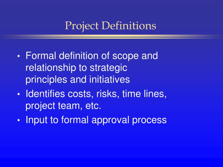 Project Definitions