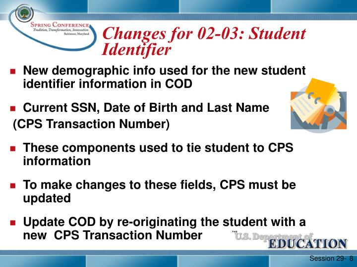 Changes for 02-03: Student Identifier