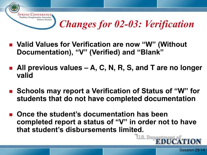 Changes for 02-03: Verification