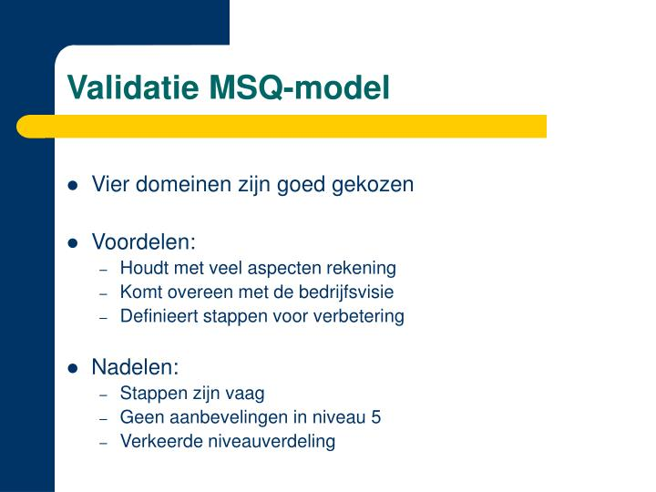 Validatie MSQ-model