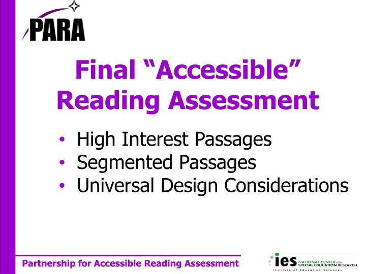 Final accessible reading assessment
