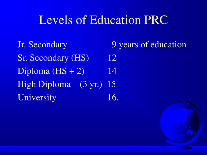 Levels of Education PRC