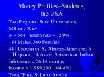 money profiles students the usa