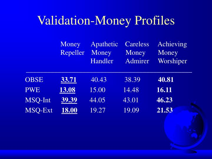 Validation-Money Profiles