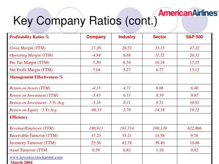Key Company Ratios (cont.)