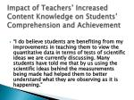 impact of teachers increased content knowledge on students comprehension and achievement
