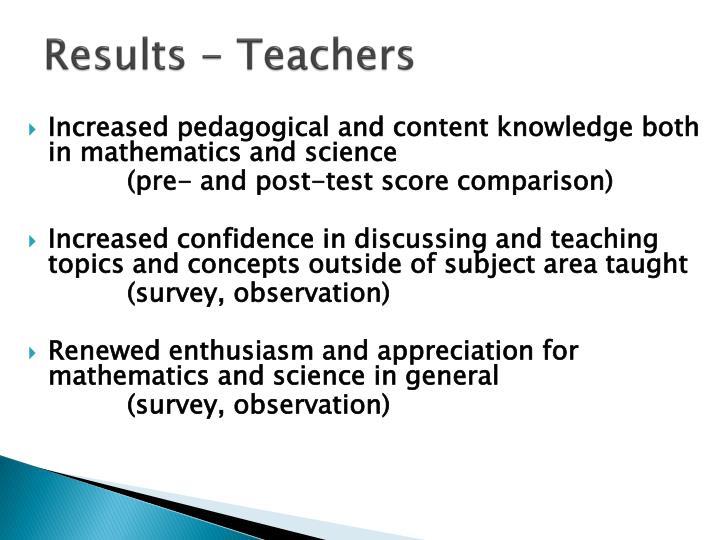 Results - Teachers