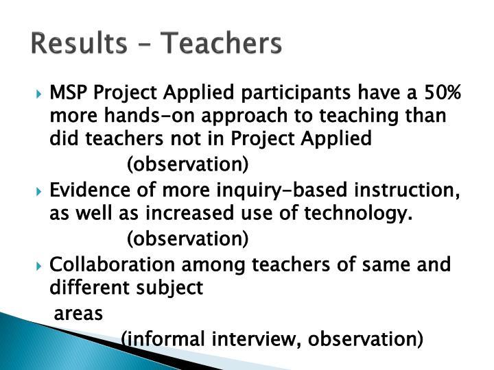 Results – Teachers