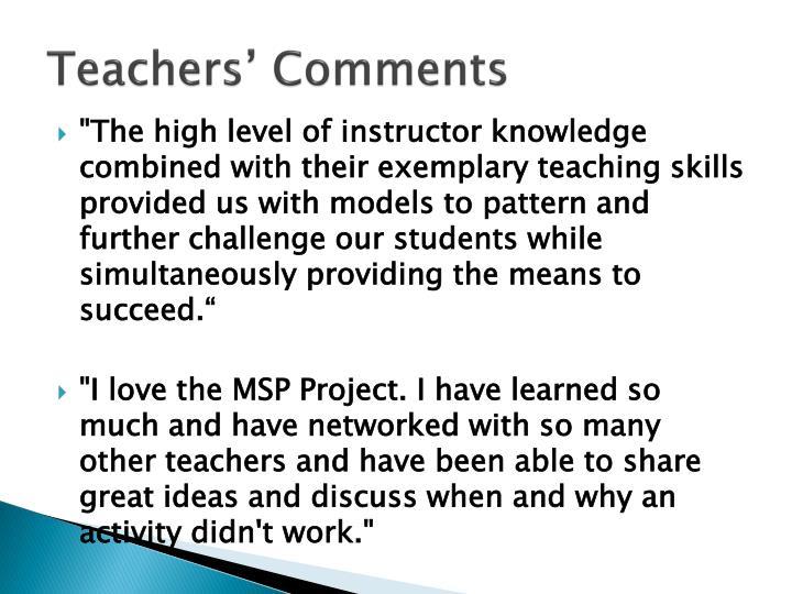 Teachers' Comments