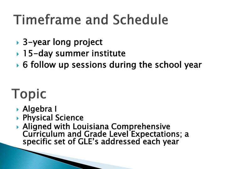 Timeframe and Schedule