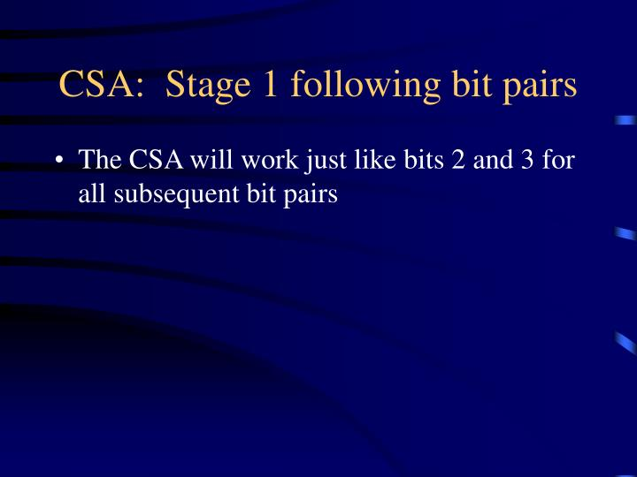 CSA:  Stage 1 following bit pairs