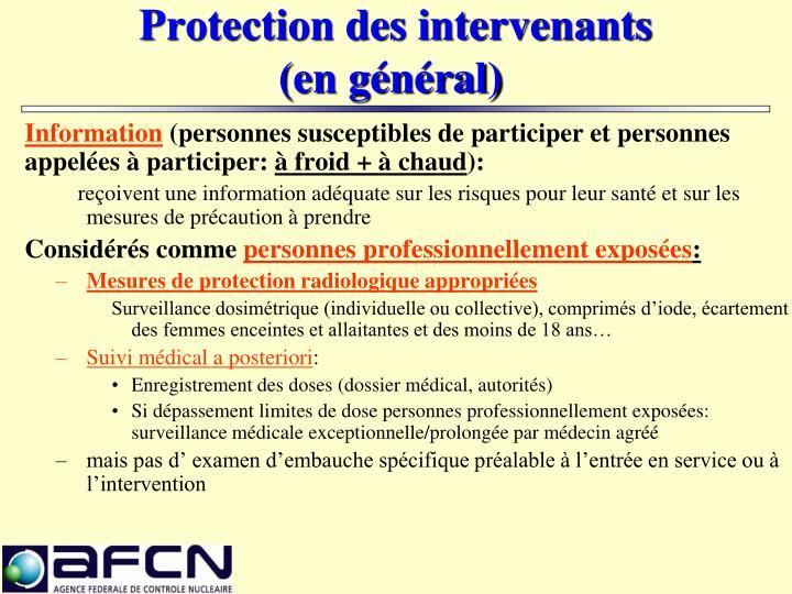 Protection des intervenants