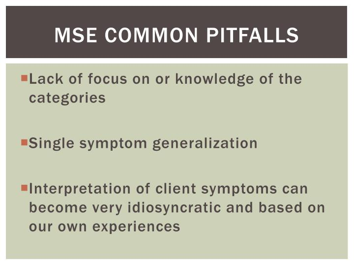 MSE Common Pitfalls