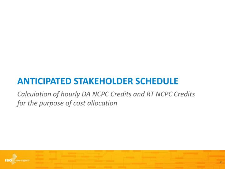 Anticipated Stakeholder schedule