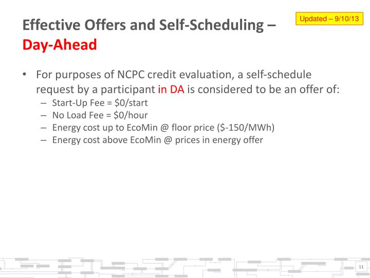 Effective Offers and Self-Scheduling –