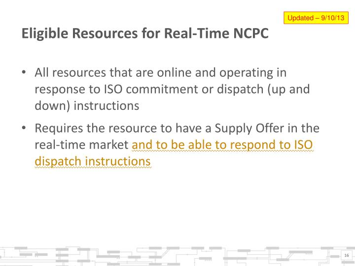Eligible Resources for Real-Time NCPC