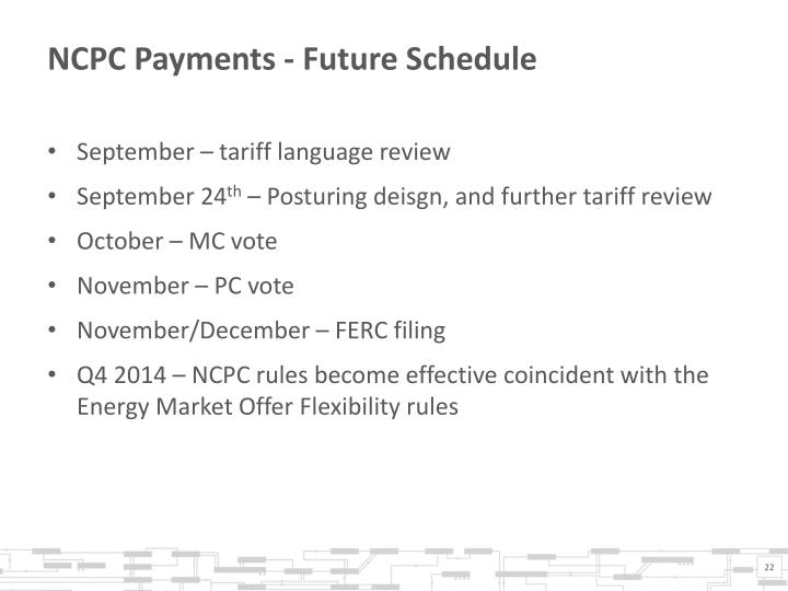 NCPC Payments - Future Schedule