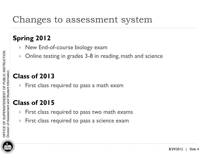 Changes to assessment system