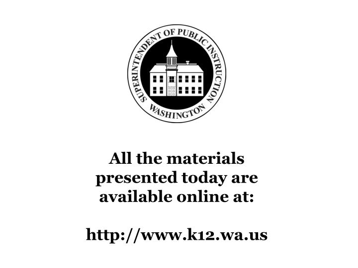 All the materials presented today are available online at: