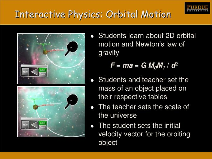 Interactive Physics: Orbital Motion