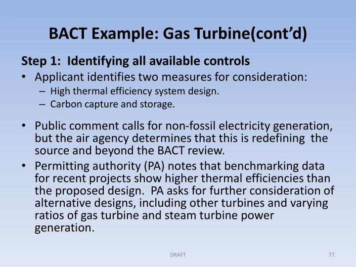 BACT Example: Gas Turbine(cont'd)