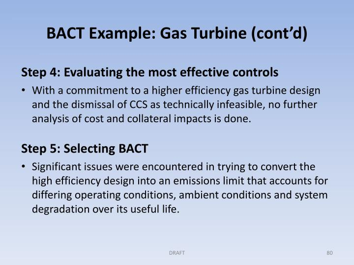 BACT Example: Gas Turbine (cont'd)