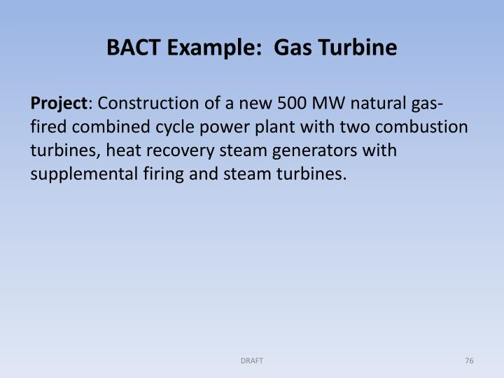 BACT Example:  Gas Turbine