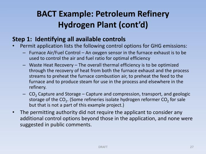 BACT Example: Petroleum Refinery