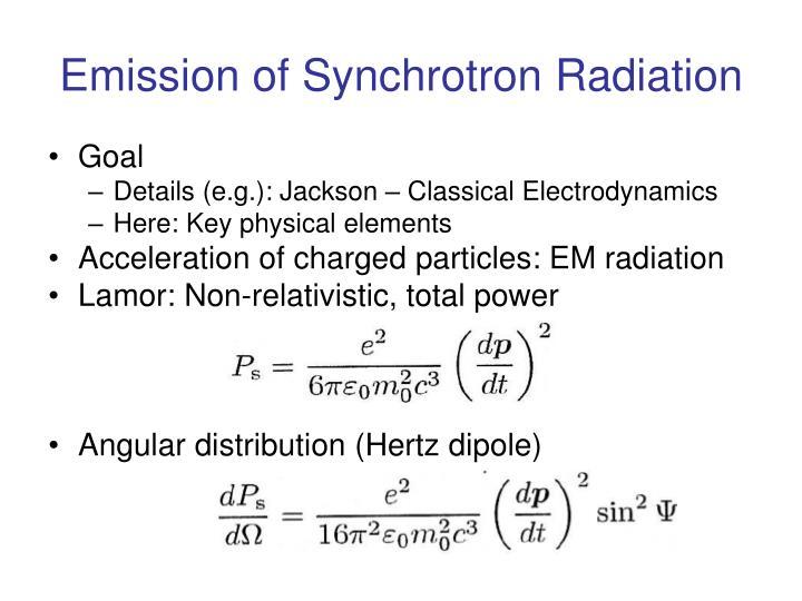 Emission of Synchrotron Radiation